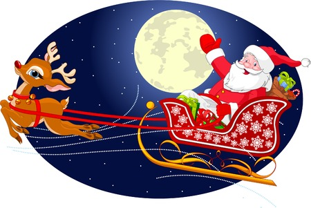 Cartoon illustration of Santa Claus flying his sleigh through the night sky.  Layered file for easier editing.