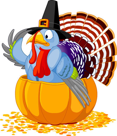 Illustration of a Thanksgiving turkey with pilgrim hat sitting in the pumpkin Ilustração