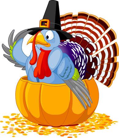 turkey thanksgiving: Ilustraci�n de un pavo de acci�n de gracias con sombrero de peregrino, sentado en la calabaza  Vectores