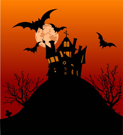halloween background: Horizontal Halloween flyer with a haunted house