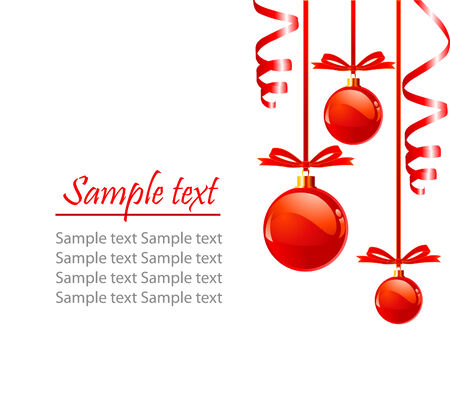 Christmas red balls with bows colors, isolated over white background with place for copyspace,  Çizim