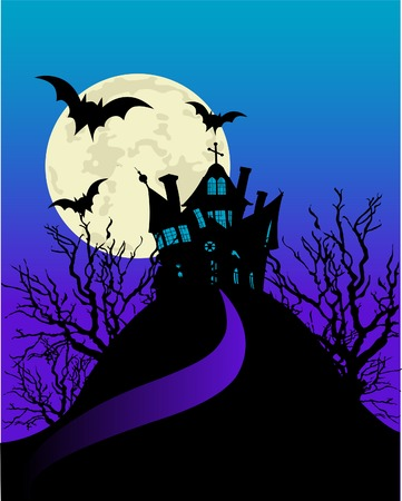 Vertical Halloween flyer with a haunted house  Stock Vector - 5739925
