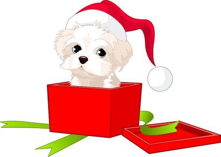 Een schattige puppy gewikkeld in een doos als een kerst cadeau.