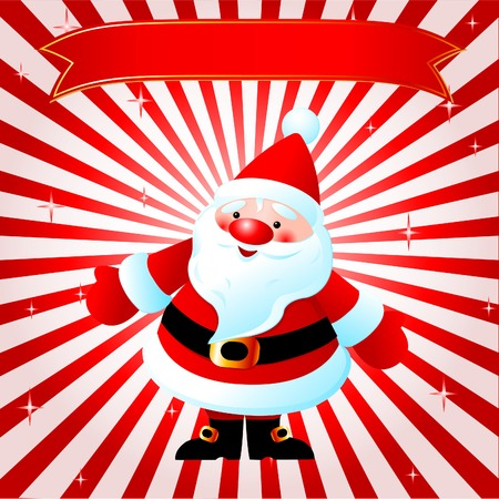 christmas paste: Christmas red background with smiling Santa Claus