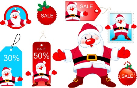 Vector Christmas design elements with Santa Claus opening hug Иллюстрация
