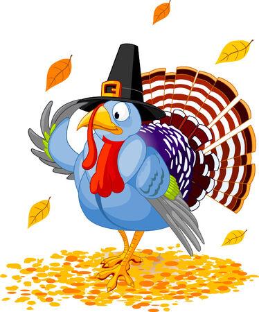 Illustratie van een Thanksgiving kalkoen met pilgrim hoed