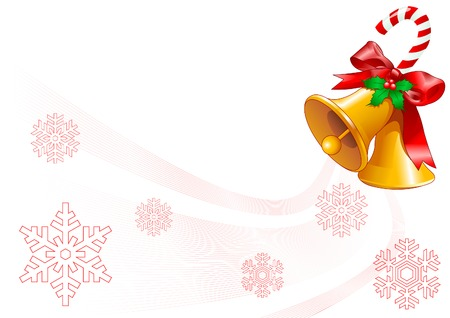 Christmas background with two golden  bells Vector