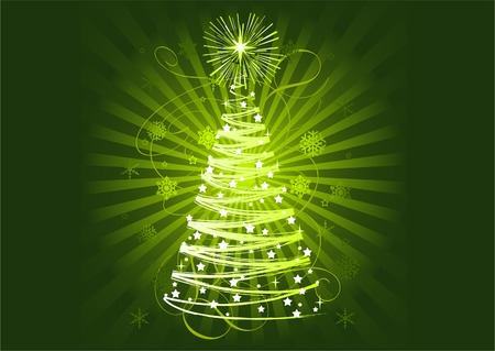 lighted: Green Christmas tree on abstract horisontal background  Illustration