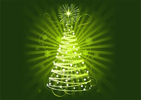 horisontal: Green Christmas tree on abstract horisontal background  Illustration