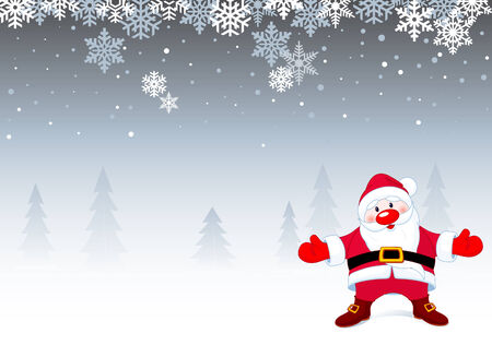 Santa Claus at winter day. All objects and symbols in illustration are separated and it's easy to use it individually