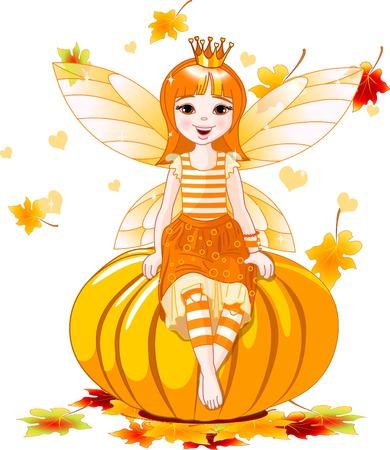 illustration of cute fairy sitting on pumpkin 向量圖像