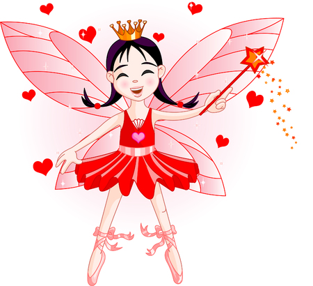 elf queen: Cute fairy ballerina flying. All objects are separate groups