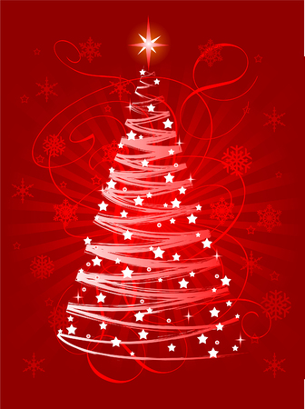 greeting card background: Red Christmas tree on abstract background