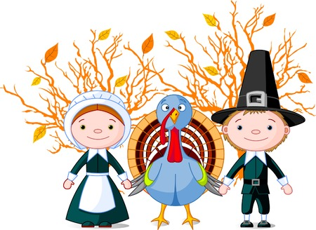 Pilgrims holding a wings (hands) with turkey. All objects are separated Stock Illustratie