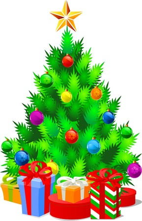 Vector illustration of Decorated Christmas tree and gifts