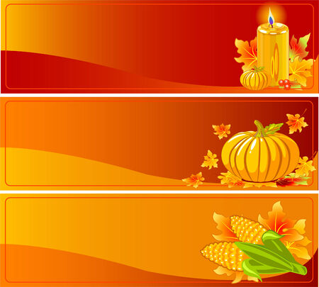 Three Funky Thanksgiving and Autumn Web Banners Vector