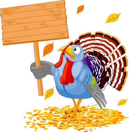 turkey thanksgiving: Ilustraci�n de un pavo de acci�n de gracias, sosteniendo un signo de la Junta en blanco Vectores