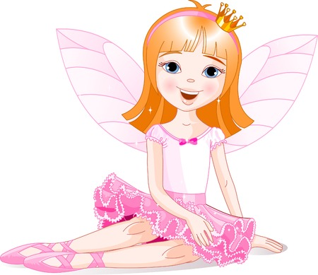 Little fairy ballerina sitting on a floor. All objects are separate groups Çizim