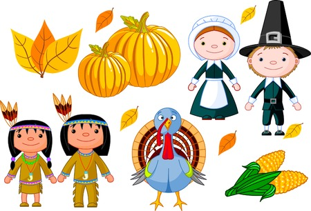 illustration set of thanksgiving icons Vector