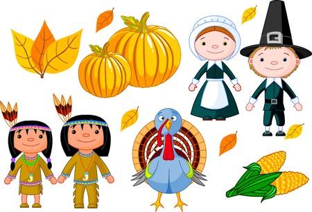 illustration set of thanksgiving icons
