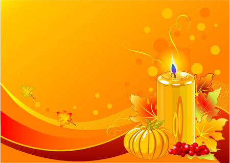 Holiday candles background with pumpkins and candle Vector