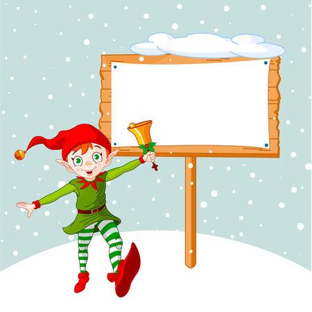 elf christmas: Elfo de Navidad saltando y sonar una campana. Estar dispuestos a poner su mensaje o anuncio