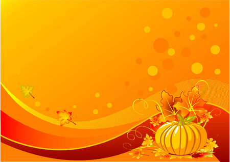 Holiday thanksgiving background with pumpkins and leaves Фото со стока - 5823597