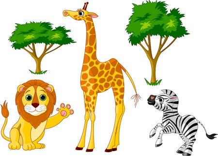 Wild African animals set