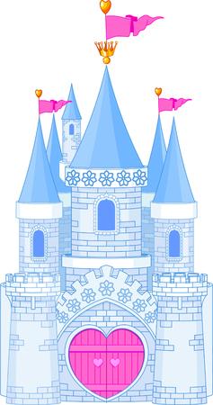 Vector Illustration of a romantic Fairy Tale Princess Castle