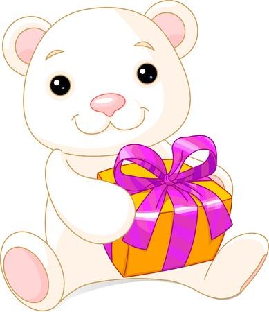Grappig Teddy draagt met een cadeau. Vector illustratie