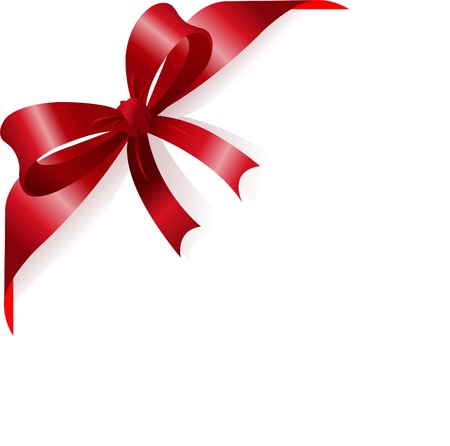 red ribbon bow: Page corner with red ribbon and bow. Place for copytext.