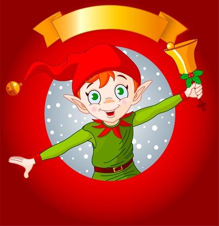 クリスマス エルフ ベルを鳴らしているとクリスマスのグリーティング カード。
