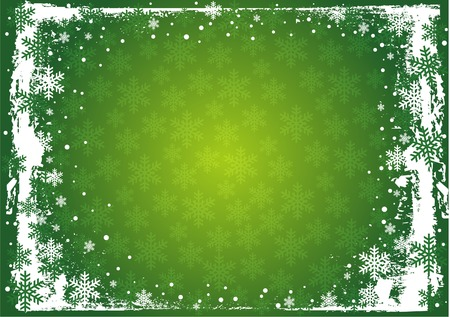 The snowflakes on top and bottom of green  background  Stock Vector - 5848471