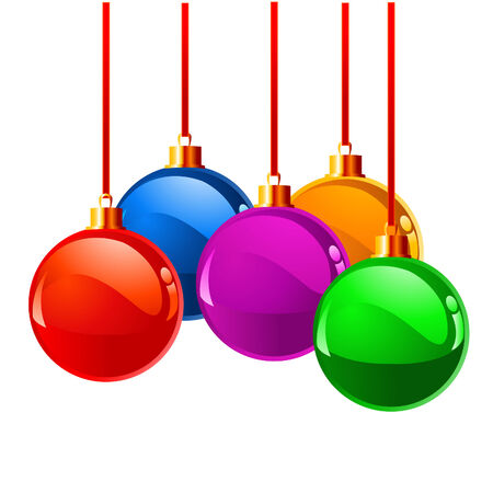 suspend: Christmas balls in different colors, isolated over white background