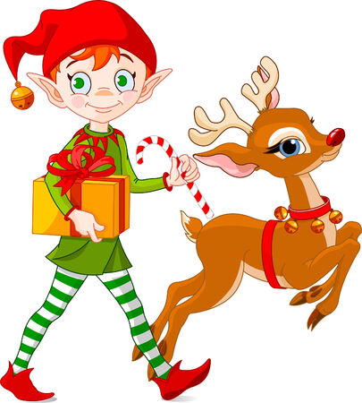elves: Christmas elf carries gifts together with Rudolph The Red-nosed Reindeer Illustration