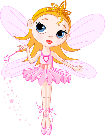 Little Cute fairy ballerina with magic wand