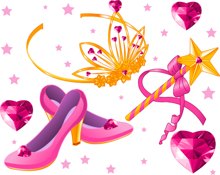 princess crown: Beautiful princess crown, scepter, magic wand, shoes and crystal hearts