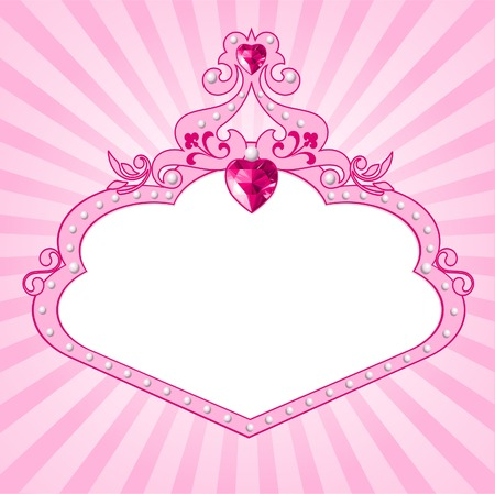 beautiful princess: Lovely princess pink frame. Perfect for beautiful girls Illustration