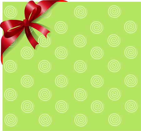 pasteboard: Green page corner with red ribbon and bow. Place for copytext.