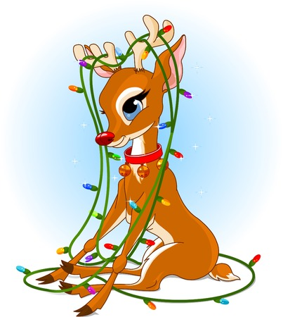 Rudolph tangled in a Christmas lights garland