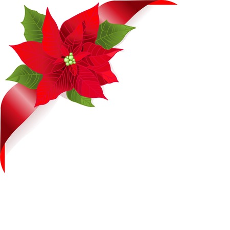 poinsettia: Page corner with red ribbon and poinsettia. Place for copytext.