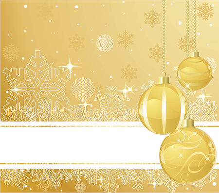 xmas background: The white snowflakes on top and bottom of the golden background decorated with balls