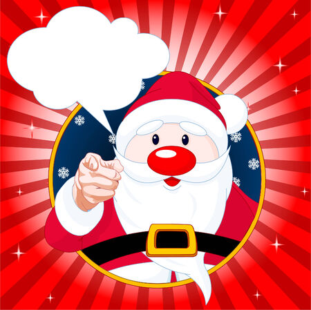 outstretched: Santa Claus pointing and looking at the camera with speech bubble