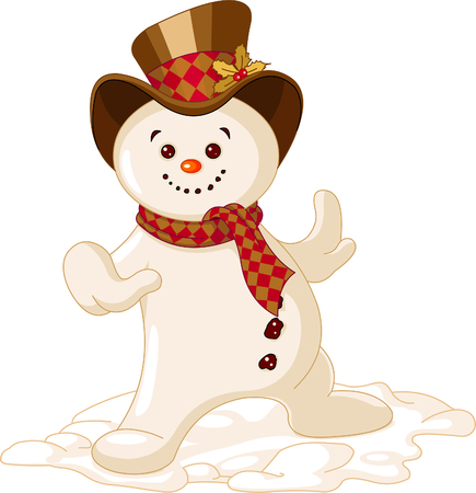 Cute Christmas Snowman dancing in the snow Ilustrace