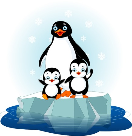 cartoon penguin: Mother penguin and her babes on the ice floe Illustration
