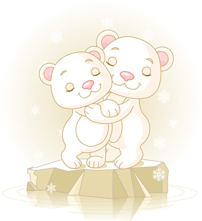 Couple of cute  Polar Bears Hugging on the ice floe Vector