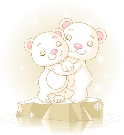 Paar schattige ijs beren knuffelen op het pakijs  Stock Illustratie