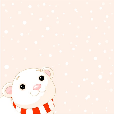 Cute little Polar Bear with scarf looking at the snow. Place for copyspace