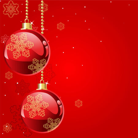 xmas background: Abstract red Christmas Background with Christmas decorations