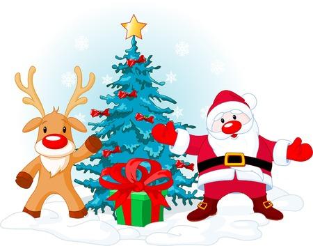 Abbildung der einen Weihnachtsmann mit Rudolph nahe Weihnachtsbaum...  Standard-Bild - 5874273